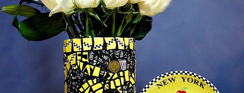 Pique Assiette Mosaic Art Vase